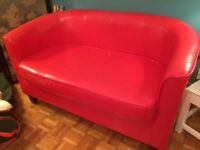 Tub chair sofa 125cm L x 65cm W x 65cm H Red in colour with leather type material