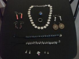 Jewellery Bundle - Necklace/Bracelets/Earrings/Rings/Pin - 12 Items