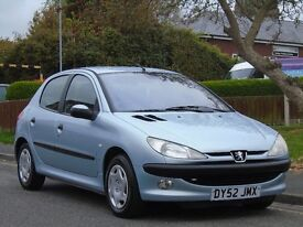 Peugeot 206 1.4 HDi LX 5dr (a/c)£899 p/x welcome 1 OWNER,FULL SERVICE,£30 TAX