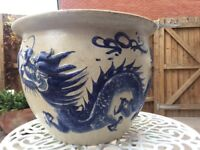 Large garden or conservatory pot, Chinese dragon design
