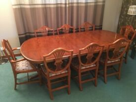 Bradley Yew Dining room table and six wheat-sheaf backed chairs