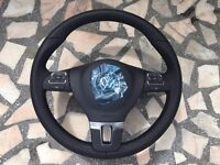 3 SPOKE LEATHER STEERING WHEEL WITH AIRBAG VW GOLF 6 TOURAN PASSAT CC SHARAN T5 NEW GENUINE VW!