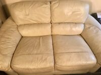 3 seater and 2 seater Italian leather cream sofa