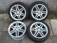 "Mercedes Benz C-Class 17"" Inch W204 AMG Alloy Wheels & Tyres. Genuine. 5x112"