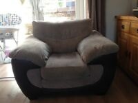 """Chocolate DFS """"Stella"""" large 2 seater Sofa bed, armchair and pouffe with storage"""