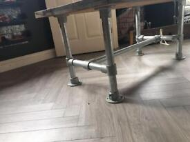 Large bespoke scaffold table beach wood stained dark