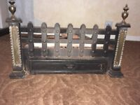 Fireplace grate and brass plate front complete with ashpan and firebricks