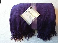 Large satin purple fringed throw, from Dunhelm mill.