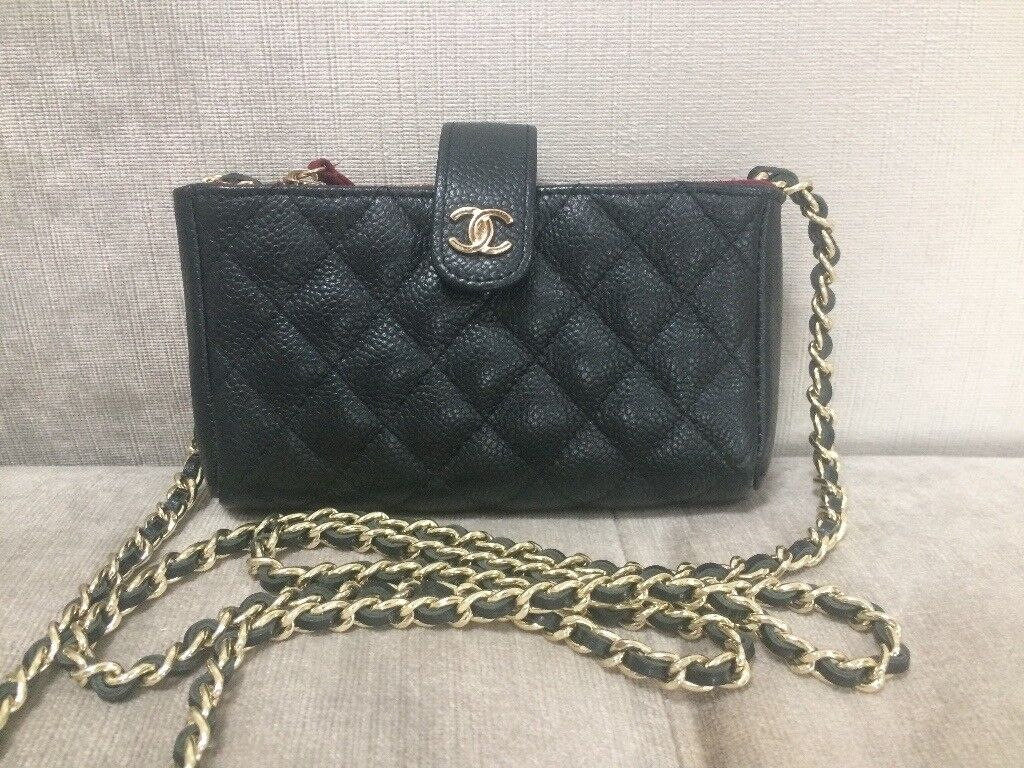 5df133df578 Chanel O Wallet on Chain. Coin, Phone holder Cross Body Caviar Leather