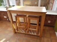 Oak Breakfast Bar with 2 Stools - Immaculate Condition