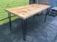 Beautiful Chunky Pine Dining Table Hairpin Legs Reclaimed Wood