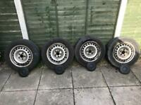 Set of 4no. VW T5 steel wheels with tyres and centre caps