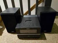 Sony HiFi Sound system, radio, Ipod dock and auxiliary lead