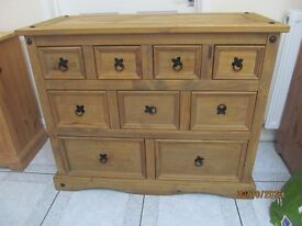 MEXICAN RUSTIC PINE 10 DRAWER CABINET IN VGC MUST SEE DELIVERY POSSIBLE