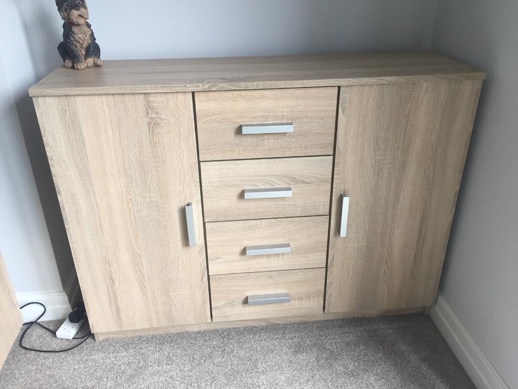 Jysk Oak Sideboard Drawers Unit Cupboard Ikea In Lincoln