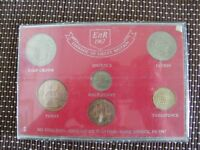 Pre-decimal coinage of UK + Uk first decimal coins + 3 other crowns