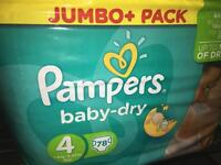 Pampers baby dry size 4 nappies unopened