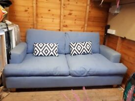 Large powder blue comfy sofa from Sofa Workshop