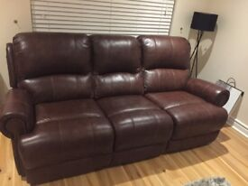 Sofology Heritage leather 3 seater manual recliner - 1 Year old!