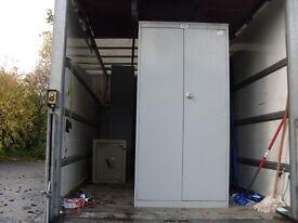 FILING CABINET METAL WITH SHELVES 2-DOOR - USED LIGHT GREY