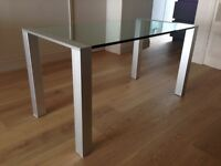 Glass dining table modern brushed aluminium legs