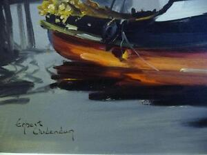 Listed Artist, Original Oil, Fishing Boat by Egbert Oudendag, Stratford Kitchener Area image 4