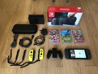 Nintendo Switch + Games + Case + Yellow Joy Con / GREAT condition
