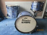 Vintage (circa 1978) Olympic (by Premier) 3 Piece drum shell pack. Blue/Gray Swirl wrap.