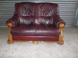 Oxblood Leather 2-seater Oak Frame Sofa (Suite)