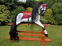 TRADITIONAL LARGE WOODEN ROCKING HORSE BY COLLINSONS 46 INCHES TALL