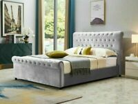 🔵LUXURY FURNITURE💖🔴KING SIZE PLUSH VELVET SLEIGH OTTOMAN STORAGE BED FRAME w OPT MATTRESS