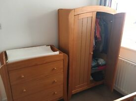 Mamas and Papas 'Fern' wardrobe, changer and cot bed / toddler bed