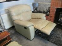 3 seat reclining sofa +1+1 reclining armchairs, ivory leather lazyboy, will split. (Essex).