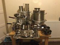 Brand new 4 catering aluminium big pot,2 tea pot,8 Thall including more stuff u can see in pi