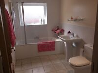 Beautiful Modern Full Bathroom Suite Includes Bath, Electric Shower, Sink & Toilet