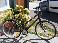 """LADIES 20"""" FRAME GIANT BIKE WITH FITTED BASKET IN GREAT WORKING ORDER"""