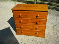 MODERN PINE ORNATE CHEST OF LARGE 4 DRAWERS. VIEWING / DELIVERY AVAILABLE