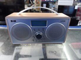 LOGIK L55DAB15 Portable DAB+/FM Clock Radio - Silver & Wood Retro style