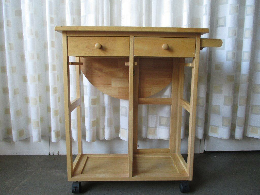 Beech two drawer one drop leaf kitchen unit side table kitchen table unit