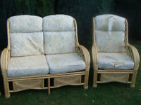 Conservatory Furniture Set - Cane Sofa + Chair + Cushions + Spare Chair - Priced To Go !