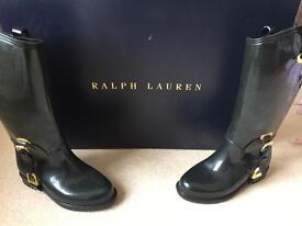 Ralph Lauren girls black wellies