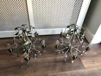 2 x Brass/pewter 5 way chandeliers
