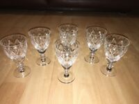 Set of 6 Vintage Cut Glass Sherry Port Glasses