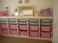 IKEA toy storage, pink and white