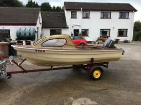 13 ft cabin cruiser boat outboard trailer