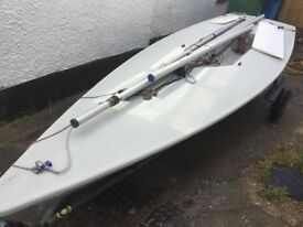 Laser sailing dinghy. Sail number 198163. Full and radial rig and sails.