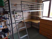 High sleeper medal bed frame with integral desk and shelf (fits standard single mattress)