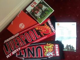 Manchester United vs Liverpool Manu Programme Teamsheet Bag & 2017 Scarf season