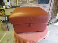 Quality red Leather Pouffe