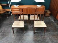4 Dining Chairs with Fabric Seat Pads by Younger of Glasgow. Retro Vintage Mid Century